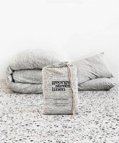 Cotton Jersey Duvet Set-Natural