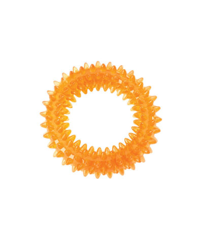 Orange Spike Ring dog toy