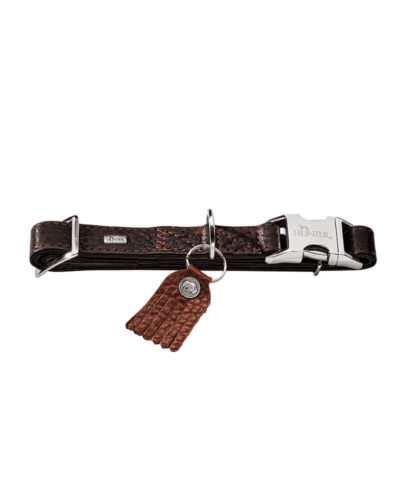 Dog collar Cody Bison leather-Alu Strong