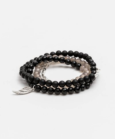 Black Taupe Silver Wrap Bracelet