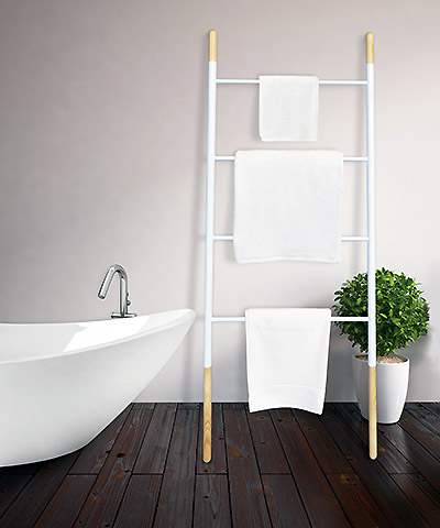 towel dry ladder against wall next to bath
