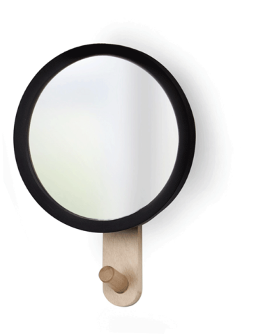 Umbra Hub Mirror Hook designed by JORDAN MURPHY Modern design, wall mounted mirror with black rubber rim and solid beech wood hook