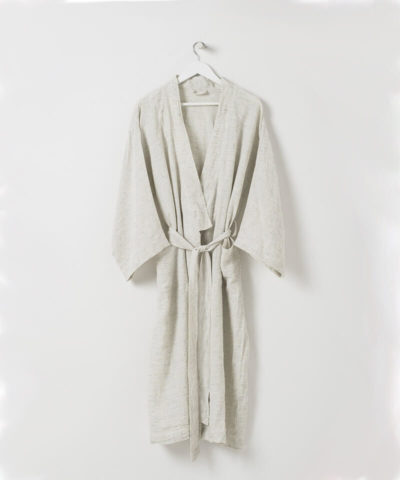 Pinstripe Women's Linen Dressing Gown